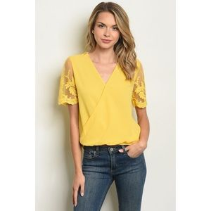 Yellow Blouse with Lace Sleeves